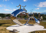 China Tall Metal Sculpture Artists Outdoor , Buckle Metal Outdoor Sculpture Abstract factory
