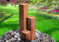 China Lawn Corten Steel Water Feature Three Column Shape 50 / 70 / 100cm Size factory