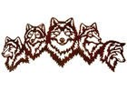 Vivid Five Wolves Contemporary Metal Wall Sculptures Popular Design