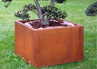 China Box Shape Corten Steel Planter For Outdoor / Garden / Public Decoration factory