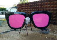 China Metal Sculpture Art Giant Sunglasses Sculpture Stainless Steel With Pink Glasses factory
