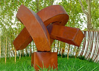 China Abstract Rusted Metal Sculpture , Contemporary Rusted Steel Garden Art factory
