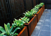 China Customized Square Metal Planters Outdoor Corten A Material 50cm Height factory