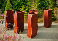 Abstract Metal Flower Planters , Unique Corten Steel Pots Welding Craft