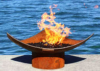 Corten Steel Modern Fire Bowls Outdoor , Large Metal Fire Pit 50cm Height