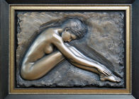 Professional Metal Relief Sculpture , Nude Woman Wall Relief Sculpture