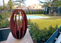 China Various Size Hollow Corten Steel Sculpture Rusty Metal Garden Ornament Egg Shaped factory