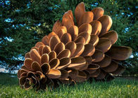 China Corten Steel Rusty Pine Cone Sculpture , Modern Metal Landscape Sculpture factory
