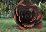 China Rose Flower Corten Steel Sculpture , Rusted Metal Garden Sculptures factory