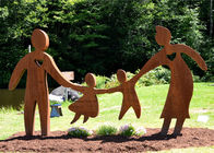 China Garden Art Decor Corten Steel Sculpture Family Parents and Children Playing factory
