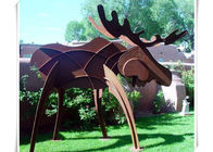 China Animals Corten Steel Moose Statue , Abstract Style Rusted Steel Garden Art factory