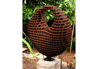 China Honeycomb Decoration Corten Steel Sculpture , Rusted Metal Garden Sculptures factory