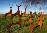 China Custom Mainstream Sculpture Garden Decoration Deer Sculpture Made Of Corten Steel factory