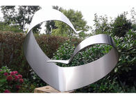 Simple Design Stainless Steel Outdoor Sculpture , Brushed Modern Metal Outdoor Sculptures