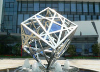 China Large Modern Cube Sculpture Stainless Steel Fountain Outdoor Decorative factory