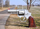 Special Gun Design Contemporary Metal Garden Sculptures Excellent Corrosion Resistance