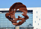 China Modern Type Outdoor Abstract Stainless Steel Dragon Sculpture Landscape Decoration factory