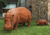 Contemporary Outdoor Metal Sculpture , Corten Steel Rhino Sculpture / Statue