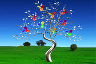 China Garden Decor Colorful Painted Stainless Steel Tree Sculpture For Placing Square factory