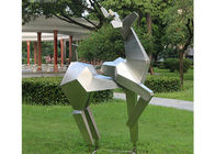 China Animal Statue Stainless Steel Metal Sculpture Garden Abstract Deer Sculpture factory
