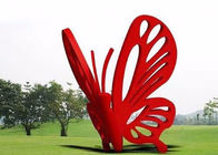 Contemporary Art Stainless Steel Garden Sculptures Large Red Butterfly