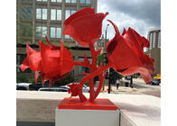 Modern Red Stainless Steel Outdoor Sculpture Rose Flowers Corrosion Stability