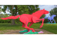 Modern Life Size Painted Metal Sculpture Running Horse Sculpture For Outdoor