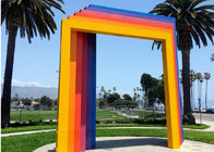Custom Painted Metal Sculpture , Modern Gate Sculpture For Garden Landscape
