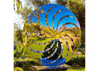 200 Cm Diameter Mirror Polished Windmill Sculpture Stainless Steel For Garden