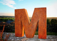 Park Decoration Corten Steel Sculpture Landscape Letter M Rusty Outdoor Metal Sculpture