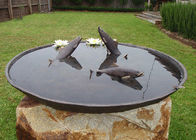Antique Cast Metal Fish Bronze Statue Bowl Water Fountain Metal Lawn Sculptures