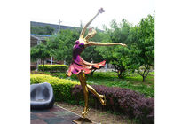 Titanium Plated Life Size Stainless Steel Sculpture Fabrication Of Dancing Girl Statue