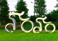 Life Size Sport Sculpture Stainless Steel Cycling Sculpture Modern Style