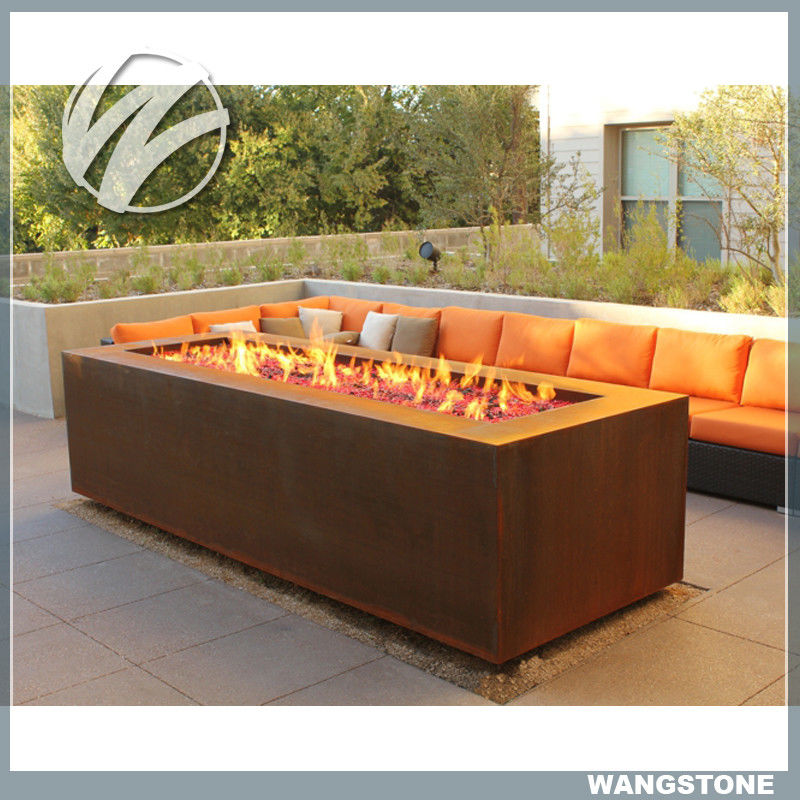 China Multi function Corten Steel Fire Pit Rectangle Metal Garden Fire Pit  Metal Sculpture supplier - Multi Function Corten Steel Fire Pit Rectangle Metal Garden Fire Pit