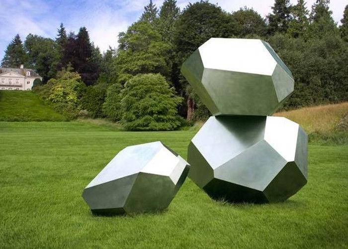 Stainless Steel Garden Sculptures Sandblasting Square Decoration