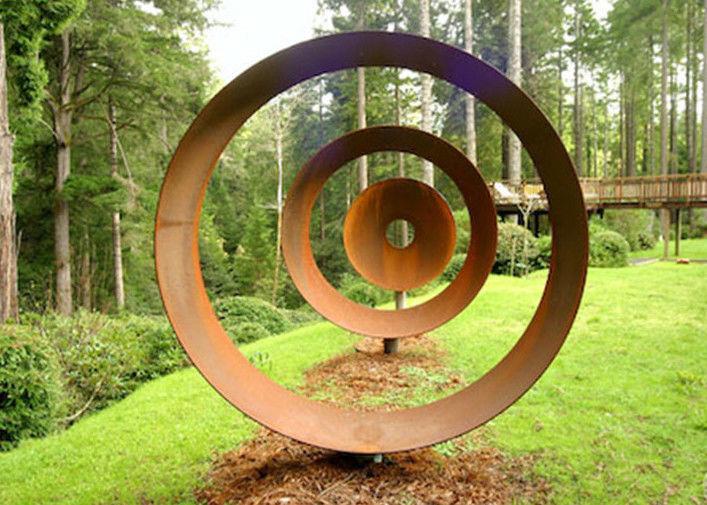 Laser Cut Rusty Outdoor Corten Steel Sculpture For Garden