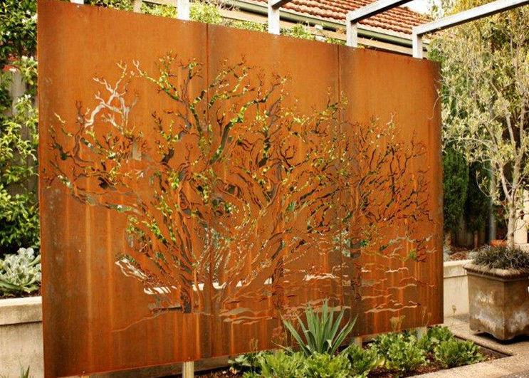 Customized Corten Steel Metal Tree Wall Art Sculpture For