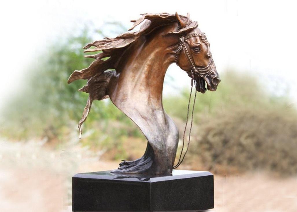 Handmade Forging Bronze Ferghana Horse Head Garden Statue For Public  Decoration