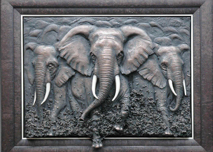 Metal Wall Art Sculpture / Bronze Elephant Bas Relief Multi Function