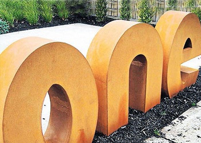 Modern Style Corten Steel Letters Sculpture , Outdoor Metal Sculpture Garden  Art