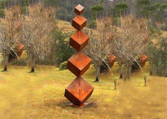 Large Decor Cube Shape Metal Garden Sculptures Corten Steel Rusty
