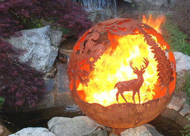 Corrosion Stability Corten Steel Sphere Fire Pit Deer For Garden Decoration