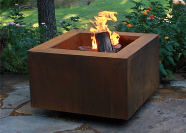 China Wood Burning Square Metal Fire Pit , Square Garden Fire Pit Simple Design factory