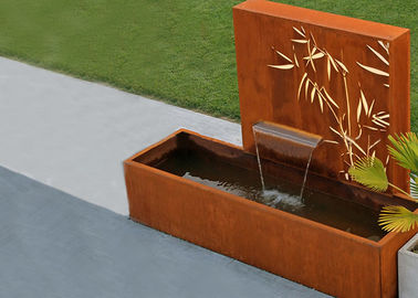 Square Rust Corten Steel Water Feature With LED Lights Customized Sizes