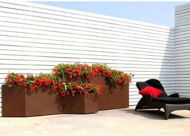 China Modern Rectangular Rusty Corten Steel Planter Anti Corrosion Classic Design factory