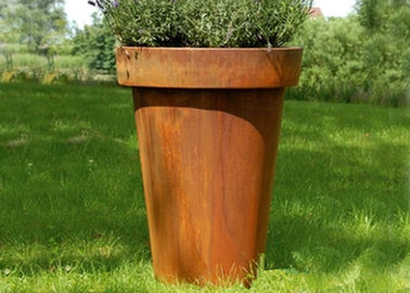 China Modern Flared Column Corten Steel Planter Flower Pot For Hotel Decoration factory