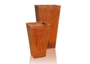 China Bespoke Garden Corten Steel Planter OEM / ODM Acceptable 120cm Tall factory