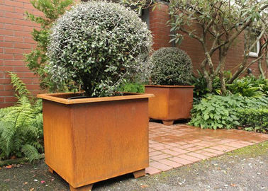 Modern Stylish Square Metal Flower Pots / Square Metal Garden Planters Corten Steel