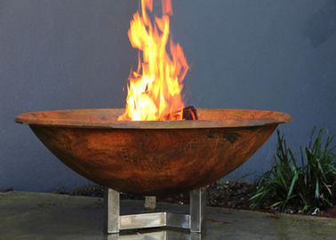 Rusty Finish Corten Steel Fire Bowl , Round Steel Fire Pit Corrosion Stability