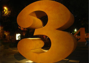 Metal Number Three Corten Steel Sculpture for Outdoor Art Decoration